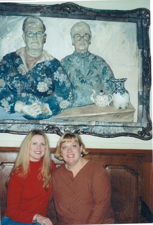 Me (on the left) with my friend Kary, 20-some years ago, under a painting we thought was SO hilarious because we'd never ever look like that. Of course.